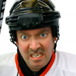 Hockey Player in the Penalty Box — Stock Photo