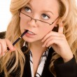 Businesswoman Solving a Problem — Stock Photo