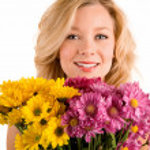 Receiving Flowers — Stock Photo