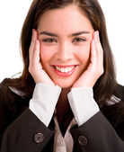 Young Woman Pleasantly Surprised — Stock Photo