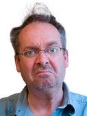Homem irritado com cabelo despenteado — Foto Stock