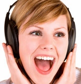 Listening to Music with Headphones — Stock Photo