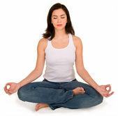 Beautiful Young Girl Meditating — Stock Photo
