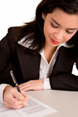 Businesswoman is Signing a Document — Stock Photo