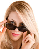 Lady Looking Over Sunglasses — Stock Photo