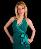Dáma v tyrkysové barevné šaty — Stock fotografie
