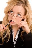 Businesswoman Solving a Problem — Stock Photo