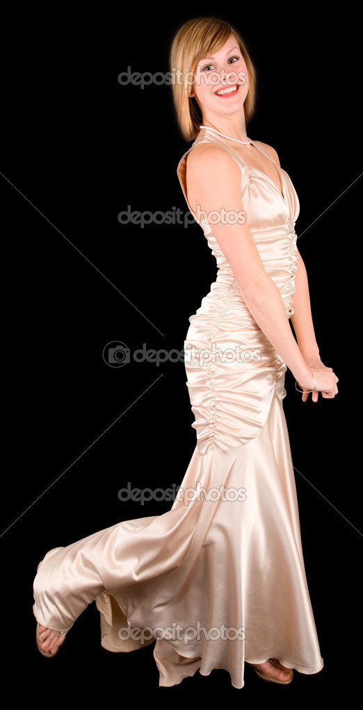 A beautiful young lady wearing an evening gown — Stock Photo #2394324