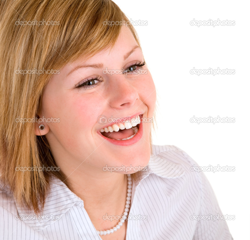 A portrait of a beautiful  blonde girl  laughing. — Stock Photo #2394854