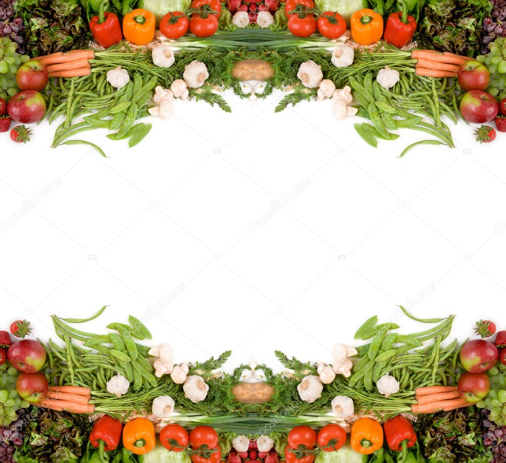 Attractive produce billboard decorated with veggies and some fruits. — Stock Photo #2399990