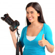 Happy Young Lady Photographer — Stock Photo