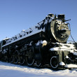 Old Locomotive in the Snow — Stock Photo