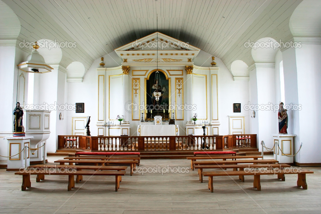 This is an 18th century chapel interior from the reconstruction of the Louisbourg Fortress in Nova Scotia, Canada.  — Stock Photo #2406466