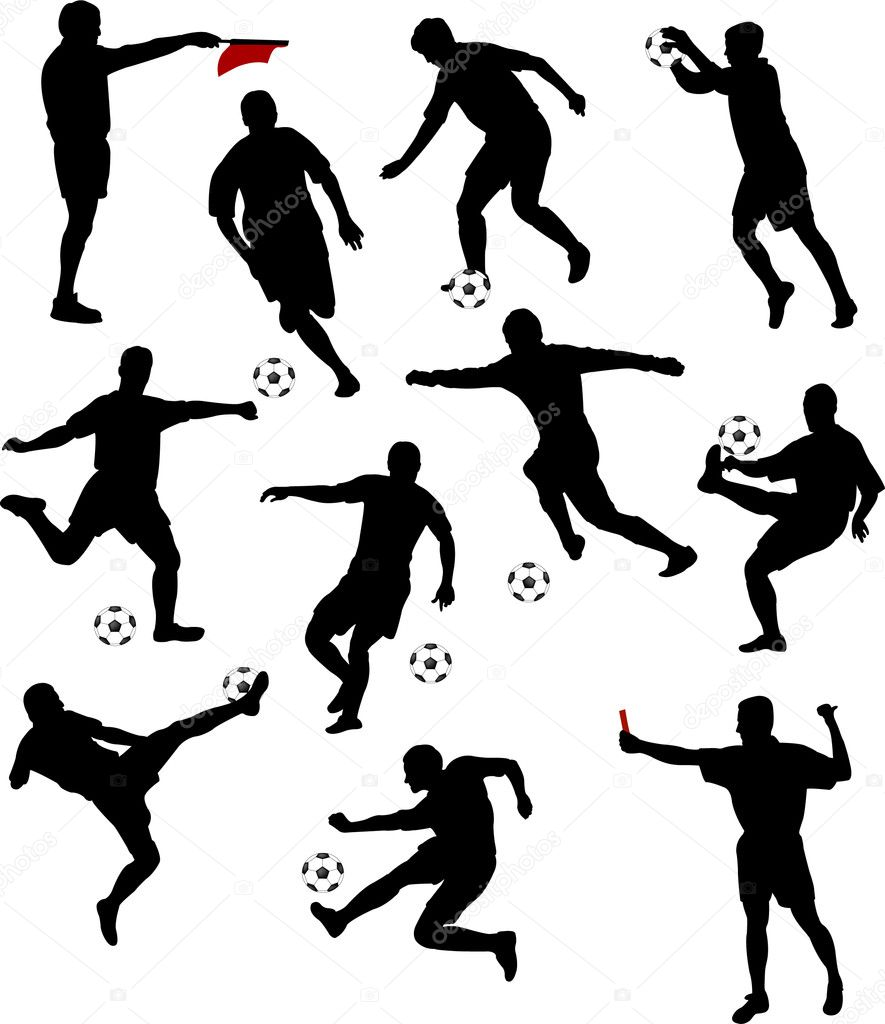 Silhouettes of soccer players - vector — Stock Vector #1928577