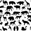 Animals silhouettes collection — Stock Vector