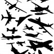 Airplanes silhouettes — Stock Vector