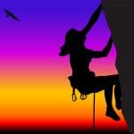 Rock climbing woman — Stock Vector