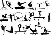 Collection de silhouettes de gymnastique — Vecteur