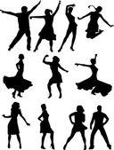 Baile siluetas — Vector de stock