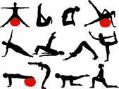 Pilates vrouwen silhouetten - vector — Stockvector