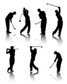 Golfers silhouettes — Stock Vector