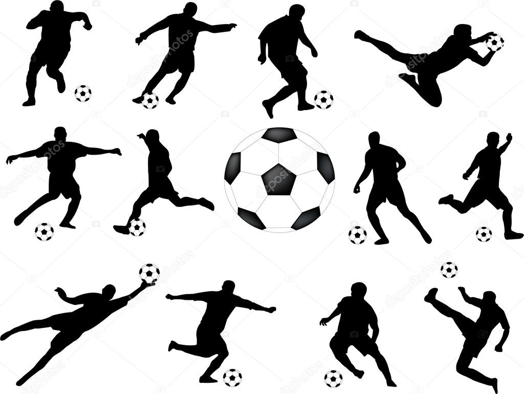 Silhouettes of soccer players - vector — Stock Vector #1982419