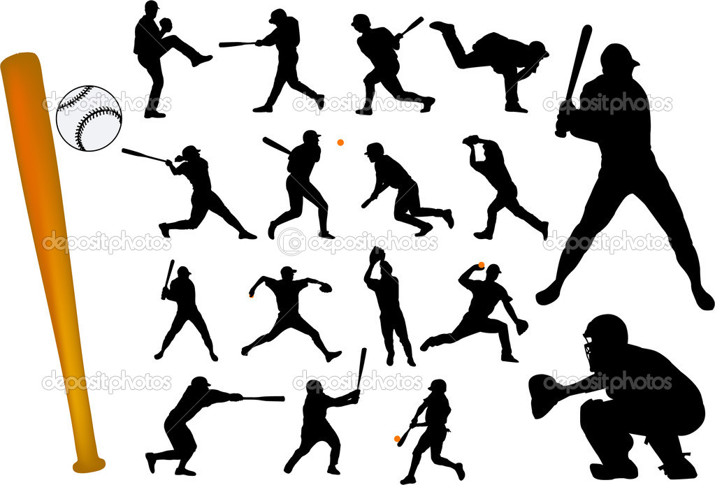  baseball players silhouettes collection - vector   #1982452