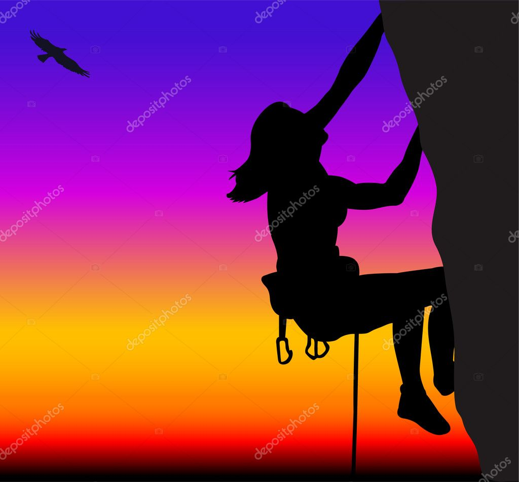 Rock climbing woman - vector — Stock Vector #1985375