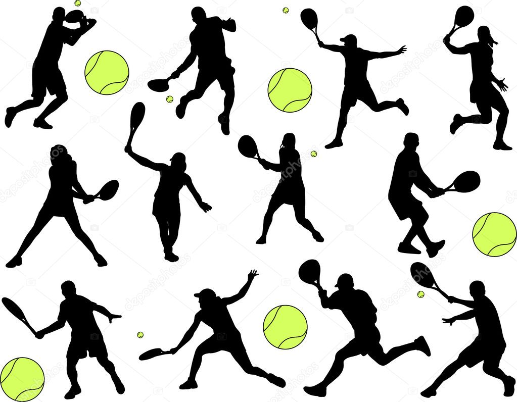 Tennis players silhouettea collection - vector — Stock Vector #1985431