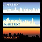 Bannières de ville skyline — Vecteur