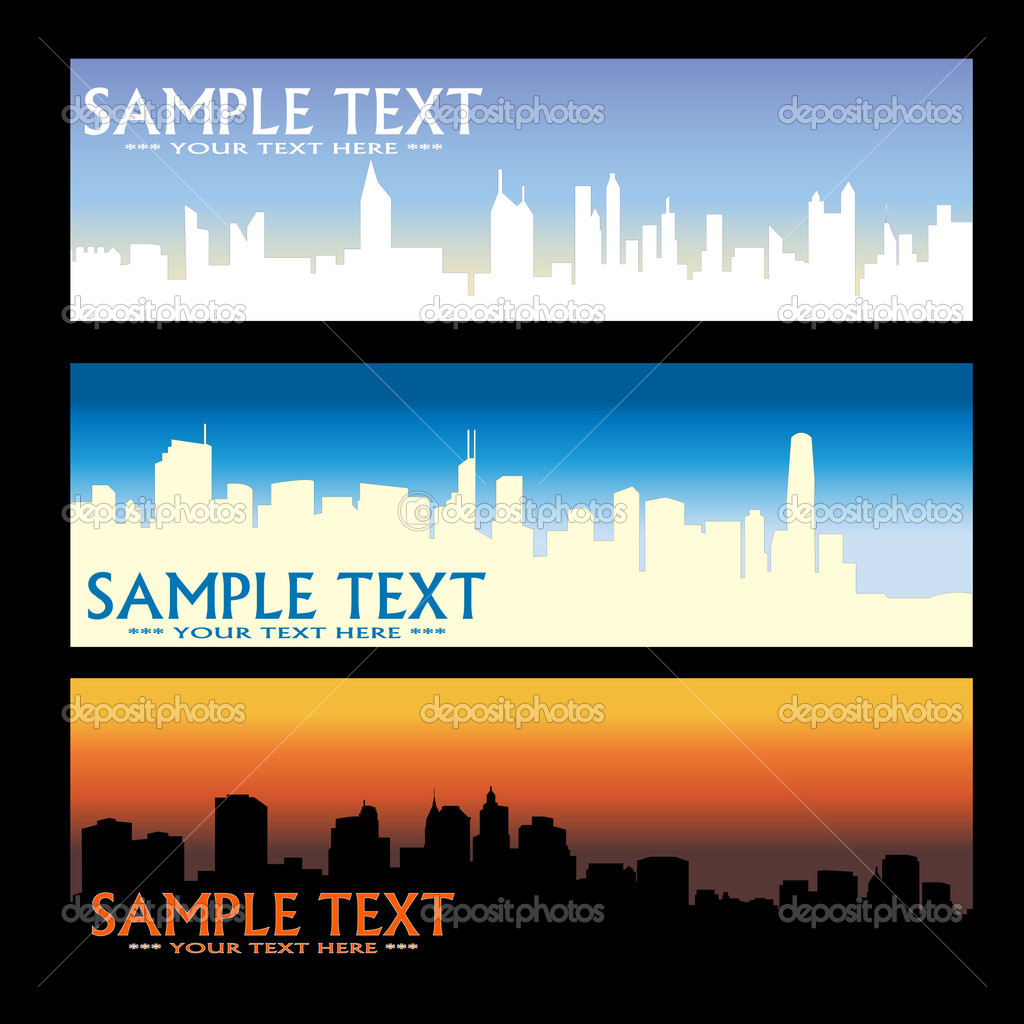 City skyline banners - vector  Stock Vector #1998695