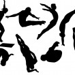 Free style diving silhouettes — Stock Vector