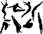 Style libre plongée silhouettes — Vecteur
