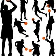 Stock Vector: Basketball players silhouettes
