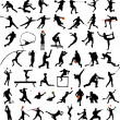 Sport silhouettes collection — Vector de stock