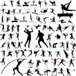80 sport silhouettes collection — Vector de stock