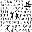 80 sport silhouettes collection — Stock Vector