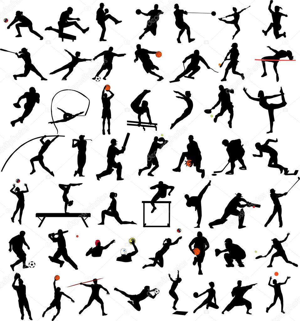 50 high quality sport silhouettes collection - vector — Stock Vector #2012638