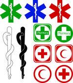 Icônes de médecine et de pharmacie — Vecteur