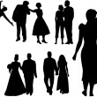 Couples silhouettes — Stock Vector