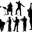 Musicians silhouettes — Stock Vector