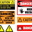 Safety electrical signs — Stockvectorbeeld
