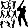 Cricket players silhouettes — Stock Vector