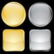 Empty gold and metallic buttons — Stock Vector