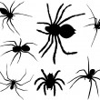 Spiders silhouettes — Stock Vector