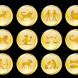 Golden zodiac buttons collection - Stock Vector