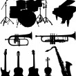 Stock Vector: Musical instruments silhouettes