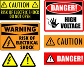 Safety electrical signs — Stock Vector