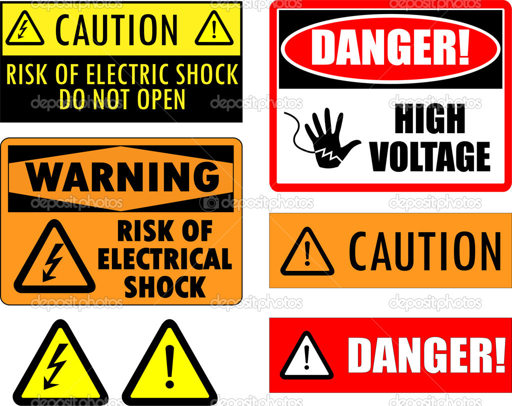Safety electrical signs - vector — Stock Vector #2150270