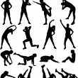 Woman exercising silhouettes — Stock Vector